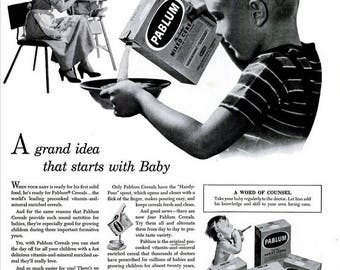 1951 Pablum Cereals Baby Food Ad Mead Johnson & Co Vintage Nursery Typography Print Nursery Kitchen Wall Art Big Brother Little Sister Decor