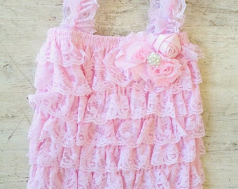 Pink Lace Romper and Headband - Pink Lace Baby Romper Set - Photo Props, Pink Baby Romper, Baby Girl Romper Photo Set Shabby Chic Gift Set