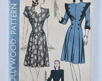 Vintage 1940s Women's Sweetheart Neckline Dress Sewing Pattern Size 18 Bust 36 Hollywood Pattern 1516