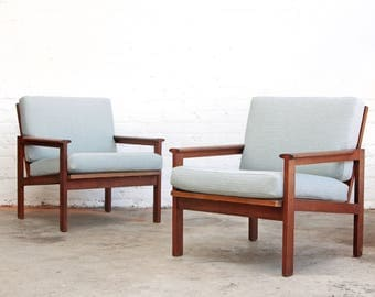 PAIR of Danish Folke Ohlsson Lounge Chairs Arm Chairs