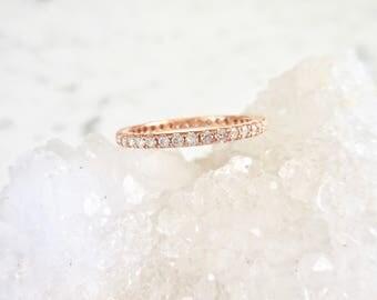 Diamond Eternity Ring - Rose Gold, Diamond Band, Diamond Stacking Ring, Shared Prong, Wedding Band, Eternity Ring, Diamond Wedding Band