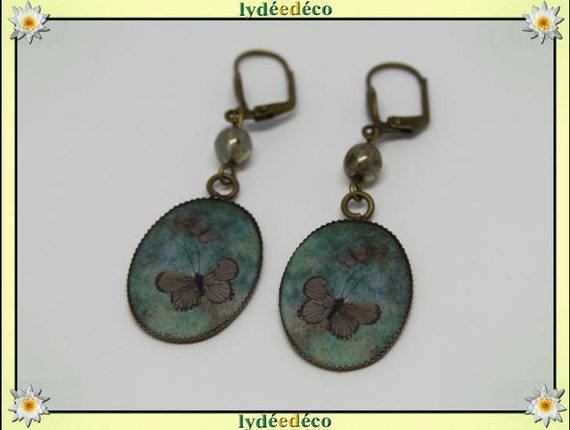 Earrings vintage retro Brown resin Green Butterfly glass bronze beads pendants 18x25mm
