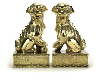 Antique Pair Brass Foo Dogs Bookends - Gold Chinoiserie Asian Oriental Lions - Chinese Smoking Dragons Horses Hollywood Regency Mid Century