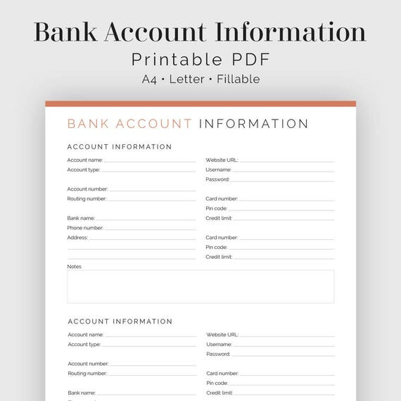 Dkb Bank Account Step By Step: Bank Account Information Fillable Printable PDF Finance