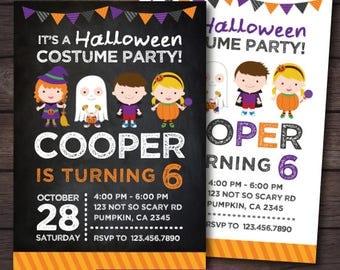 Halloween Birthday Invitation, Costume party invitation, Halloween Invites, Halloween Party, Trick or treat Invitation, 2 options, DIGITAL