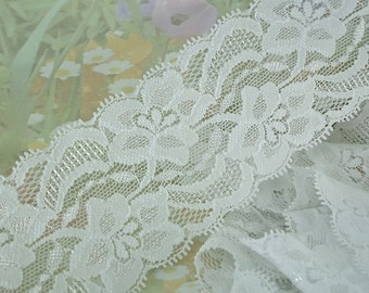 "3yds Elastic Stretch White Fabric Lace Ribbon Trim 2"" + Wide Floral Design diy Lingerie Headband Garter bandana boot cuffs"