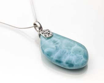 Larimar Pendant, Natura, Double Sided Larimar Stones Jewelry