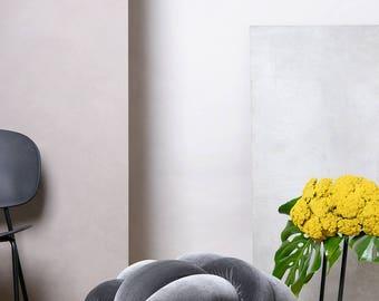 Large Knot Floor Cushion in Velvet Grey, Knot Floor Pillow, Modern pouf, cushion, pouf ottoman, Meditation Pillow,