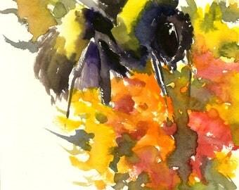 Bumblebee on Flowers orange yellow red Original watercolor painting, bee art, minimalist bee lover painting, bumblebee wall art