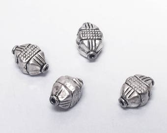 4pc Bali Silver Beads Antiqued, Bali Style Silver Beads, 11.8x8mm 1mm hole, Square Shape with Pyramid Ends Bali Beads - A326P