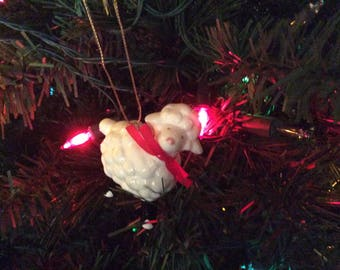 Vintage Ebeling & Reuss Co. Christmas Ornament 1984 Lamb Made in Japan Cottage Chic