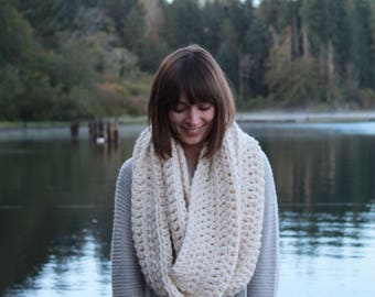 Giant Chunky Knit Infinity Scarf Wool Circle Scarf | THE ANCHORAGE in Snow
