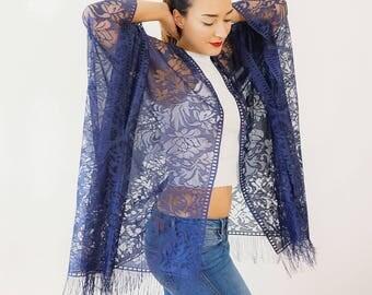 Boho Kimono Navy Blue Lace Kimono Fringe Kimono Girlfriend Gift for Mom Wife Gift for Her Festival Kimono Cardigan Floral