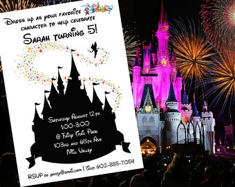Disney Castle Themed Birthday Party Invitation - Silhouette - DIGITAL FILE -