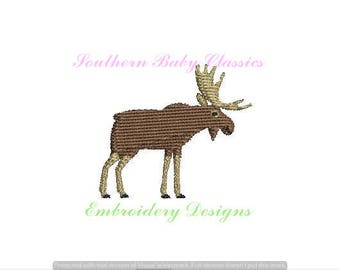 Moose Animal Mini Boy Design File for Embroidery Machine Monogram  Instant Download Cute Baby Camping Winter Christmas
