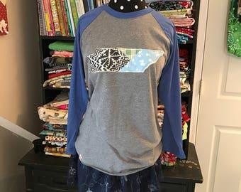 Tennessee Applique baseball shirt, patchwork vintage quilt