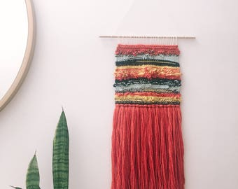 Woven wall hanging - Red, yellow, and teal striped sunset woven wall hanging