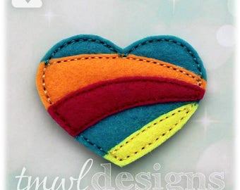 "Rainbow Heart Feltie Digital Design File - 1.75"""