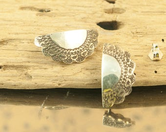 Earrings Lace doily Crochet Sterling Silver Oxidized textured engraving etching, hand cut , jewelry