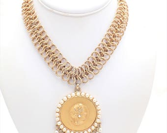 Nettie Rosenstein Faux Pearl Coin Choker Necklace