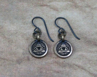 Eye of Providence Earrings on Hypoallergenic Ear Wires,All Seeing Eye Jewelry,Antiqued Gold Eye of Providence Charms,All Seeing Eye Earrings