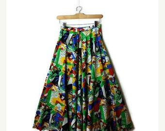 ON SALE Vintage  Colorful french can can dancers/moulin rouge/ High waist wide leg flare Pants from 1970's*