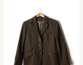 ON SALE Ralph Lauren Collection Houndtooth/Checked Tailored Jacket / Blazer size Women 10*