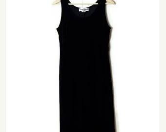 ON SALE Vintage Black Velour Sleeveless Long Dress from 90's/Minimal Dress/Minimalist*