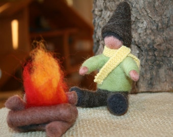 FIRESIDE GNOME Winter Nature Table Needle Felted Ready to Ship