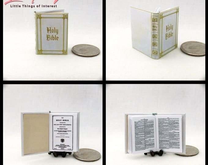 1:12 Miniature Doll WHITE HOLY Bible Book PDF Tutorial and Printie Dollhouse Scale Book Miniature Accessory Christening Wedding Confirmation