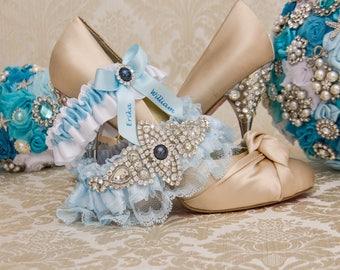 Blue Lace Wedding Garter Set. Blue Lace Garter Set, Lace Wedding Garter, Something Blue, Rhinestone Garter, Personalized Garter