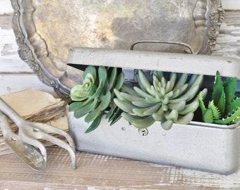 Vintage Metal Tool Box Green Farmhouse Decor Industrial Salvage Fixer Upper Decor
