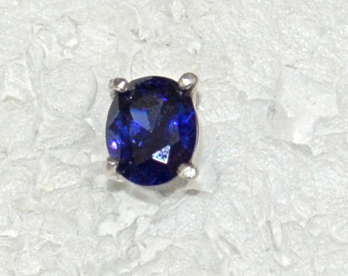 Man's Blue Zircon Stud, 9x7mm., Natural, Set in Sterling Silver E1088M