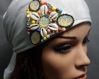 Silver Tichel , Shimmering Head Scarf , Snood , Chemo Cap , Silver Head Wrap , Headscarves , Hair Covering , Headwear , Women's Hats