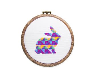 Quilt Bunny - Modern Cross Stitch PDF - Instant Download