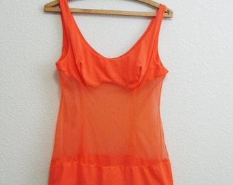Mod Orange Babydoll Nightgown SHEER Small