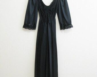 Black Satin Gown Olga Lace Small - So Glamorous