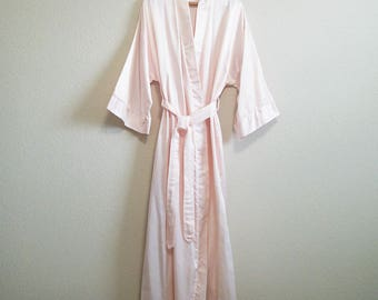 Pink Satin Robe Large XL Barbizon - Mad Men Robe Lined and Belted