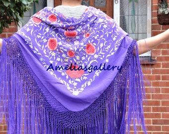 Hand embroidered kids spanish flamenco silk piano shawl, dancewear, manton