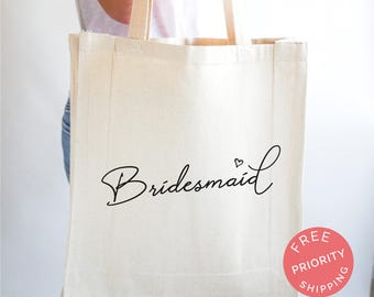 Personalized Totes for Bridesmaids, Canvas Tote Bags, Rustic Wedding, Handwriting, Bridesmaid Names, Tote Bag For Her, Bridal Party Gifts
