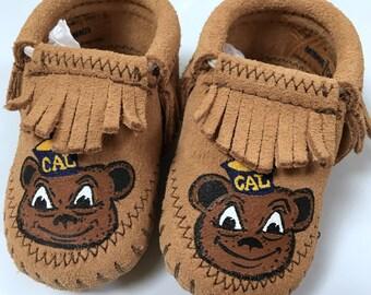 Custom UC Berkeley Bear Baby Booties Moccasins Free Range Mama
