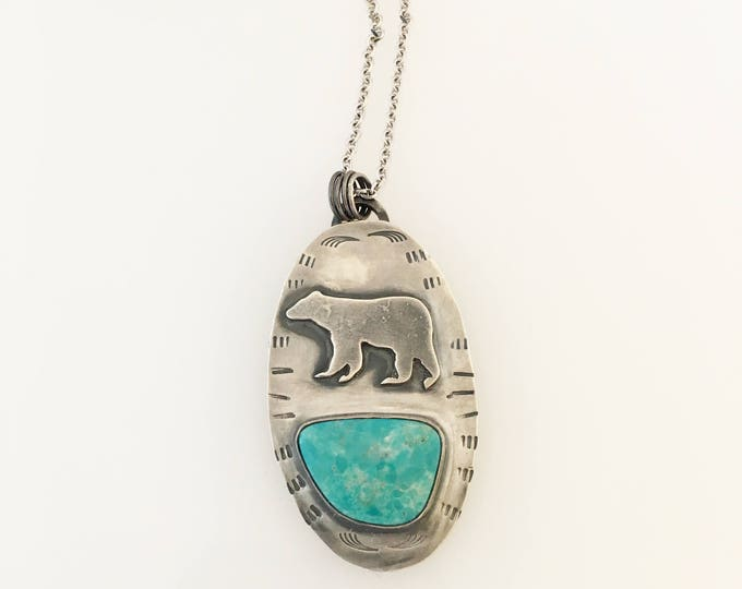 Silver Bear and Kingman Turquoise pendant necklace. Hand cut. Hand Stamped. Turquoise and Sterling Silver.  Genuine Turquoise