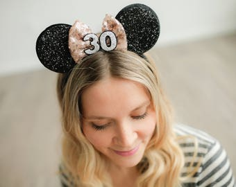30th Mickey Ears With Rose Gold Bow || Minnie Mouse Ears || Disneyland Mouse Ears || Customize Any Number