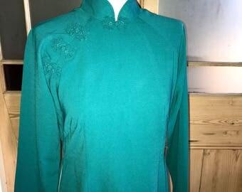 Vintage jade green Cheongsam high neck dress approx UK 12 - 14 US 8 - 10