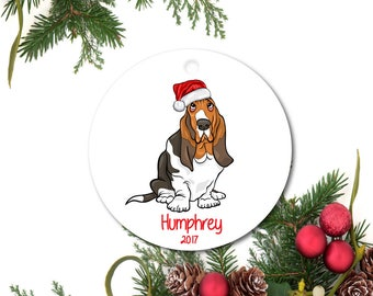 Basset Hound Ornament, Pet Ornament, Personalized Christmas Ornament, Basset Hound Gift, Custom Dog Ornament, Ceramic Ornament, Pet Gift