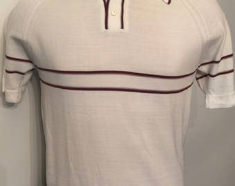 Vintage MENS 1950's Puritan white knit polo shirt with chest stripe, size M, dead stock, made in U.S.A.