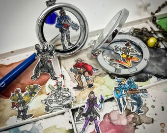 Overwatch Offense - Hand-painted watercolor locket charms
