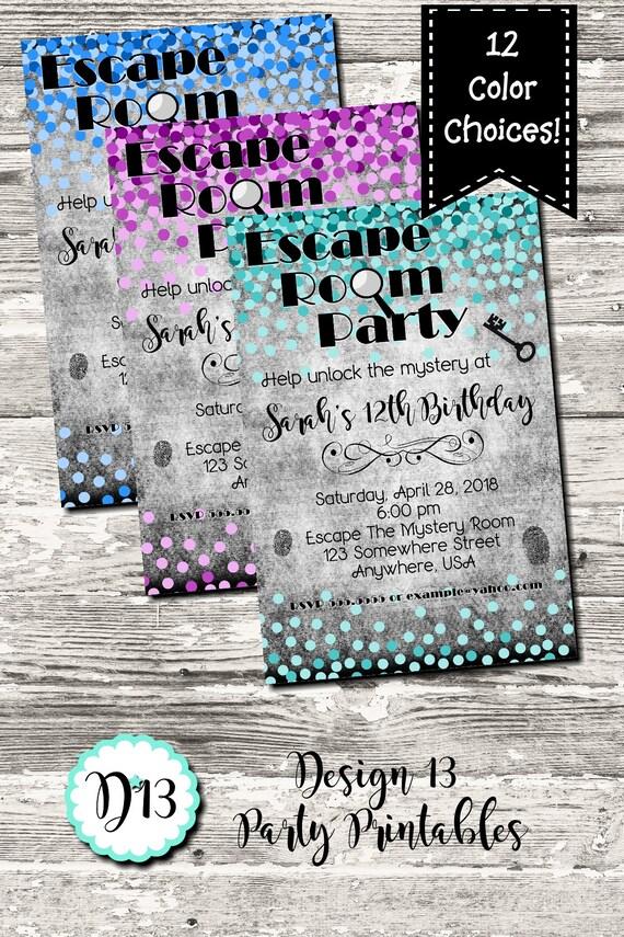 Escape Room Birthday Party Invitation Coloful Confetti Digital ...