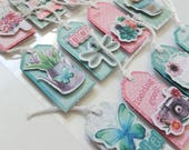 Sticker Sheet – Set of 12 3D Stickers – Vintage Tags Cards Hang Tags– Embellishments – Butterflies Flowers Botanical – Shabby Chic