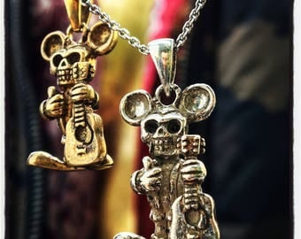 Sterling Silver Skull Mouse Pendant Silver Mouse Pendant Gold Mouse Pendant Guitar Pendant Skull Pendant Skull Guitar Pendant Skull Necklace
